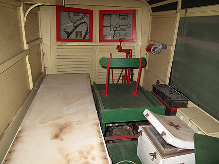 The driver's cab of theGaydah rail ambulance