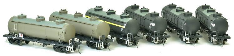 6 weathered versions of the 38' VR rail tank car from SDS Models