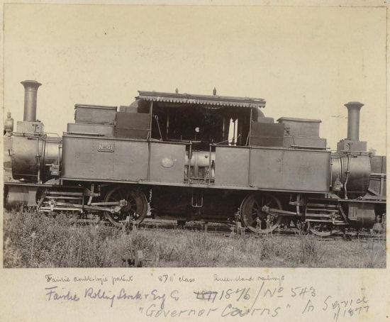 The Vulcan Foundry locomotive that came to Australia was a Double Fairlie seen here sometime after renumbering in 1882
