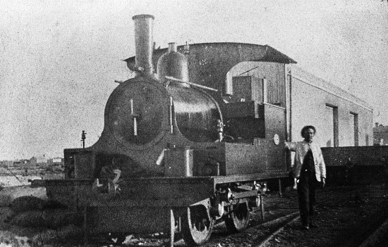 """A photo dating from 1890 showing what is described as """"the Kitson"""" shunting the wharf at Port Germain in South Australia. (State Library of South Australia B-54865)"""
